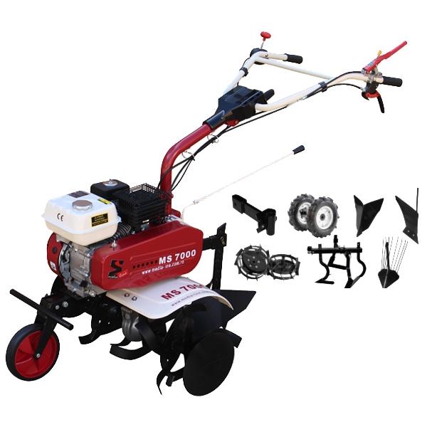 Motosapa Media Line MS 7000 7CP TOP cu plug de bilonat, roti cauciuc, roti metalice, plug simplu, prasitoare, extractor cartofi